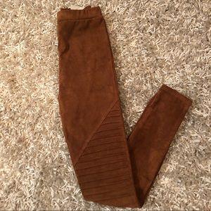 Pants - Faux suede motto legging. NWOT.